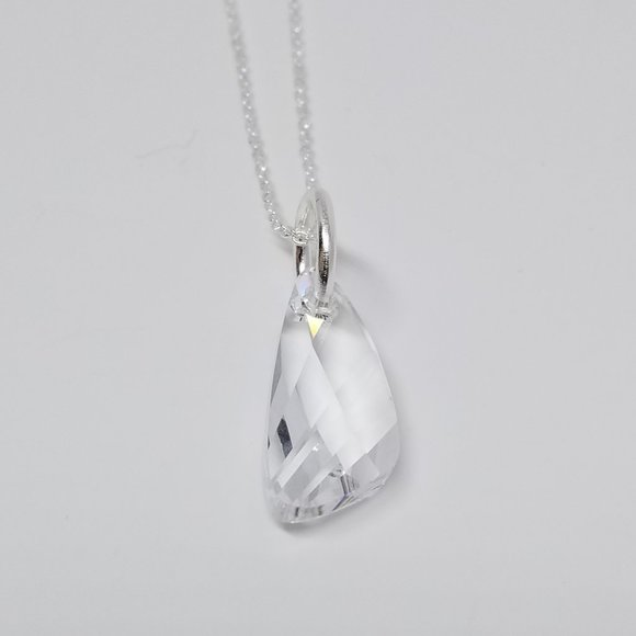 Sterling Silver Necklace Clear Wing Swarovski